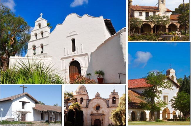 A collage featuring 5 of the 21 famous California missions along El Camino Real.