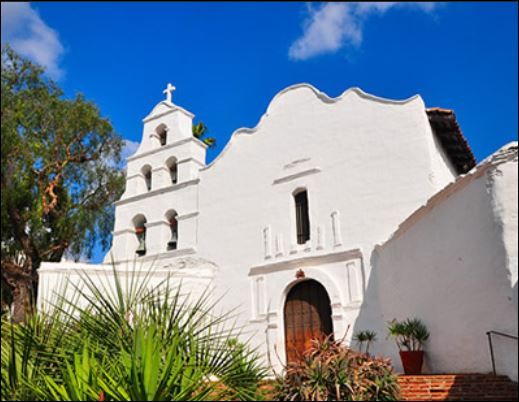 A photo of the mission San Diego de Alcala.