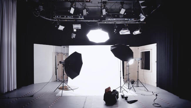 Lights and cameras prepared for a video interview shoot for marketing a book